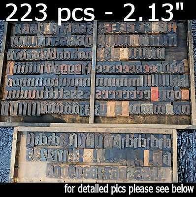 Letterpress Wood Printing Blocks 223pcs 2.13 Tall Blackletter Type Woodtype Abc