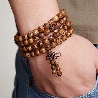 Sandalwood 108 Prayer Bead Mala Bracelet Necklace Buddhist Buddha Meditation 8mm