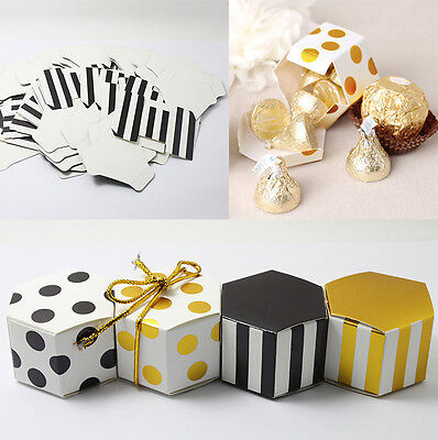 10/50/100pcs Mini Sweet Hexagon Candy Boxes Wedding Favour Favor Bags Party Gift (Mini Gift Boxes)