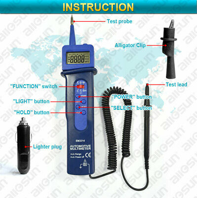 Digital Automotive Dmm Pen Type Multimeter Autorange Dc Ac Volts With Spotlight