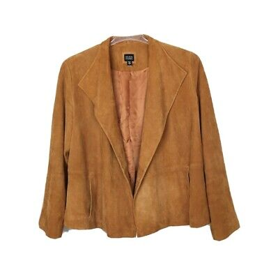 EILEEN FISHER Burnt Orange 100% Goat Suede Leather Open Front Jacket Size Large