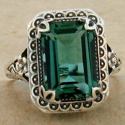 ANTIQUE STYLE SIM EMERALD 925 STERLING SILVER RING SIZE 4.75,               #891