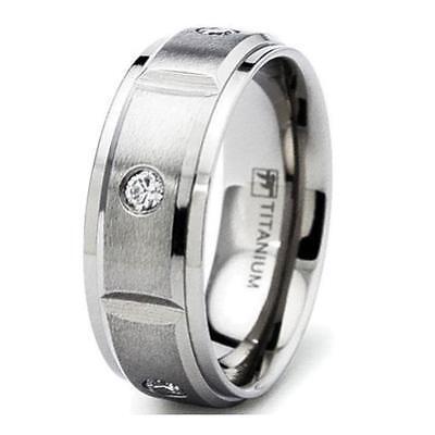 Mens Satin Finish Titanium Simulated Diamond Eternity Wedding Band - Satin Finish Titanium Ring