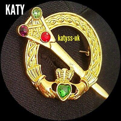 Vintage Look Irish Claddagh Green Crystal Diamante Celtic  Brooch Pin  Gift Gold