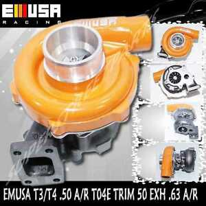EMUSA T3/T4 Hybrid Turbo Charger .50 A/R Comp .63 A/R  Yellow