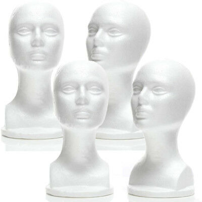 Mn-434 4 Pcs Female Styrofoam Mannequin Head Bust With Partial Shoulder