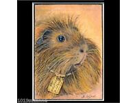 ACEO MOUNTED DUTCH GUINEA PIG CAVY PRINT FROM ORIGINAL PAINTING SUZANNE LE GOOD