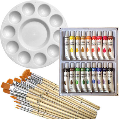 Artist 18 WATERCOLOR Painting Paint Set + 12 Brush Set with Round Palette SET