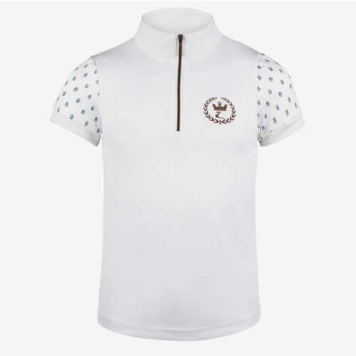 Horze brand YOUTH KIDS WHITE ENGLISH SHOW SHIRT short sleeve w/ zipper 5 Sizes!