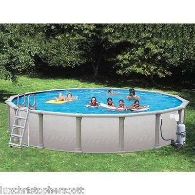 "Dig Deep Round 33' x 72"" Above Ground Swimming Pool Package Vinyl Coated Frame!"