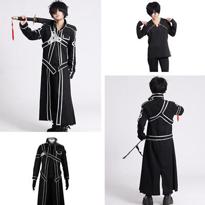 Anime Sword Art Online Kirito Kirigaya Kazuto Mantel Coat T-Shirt Cosplay Kostüm