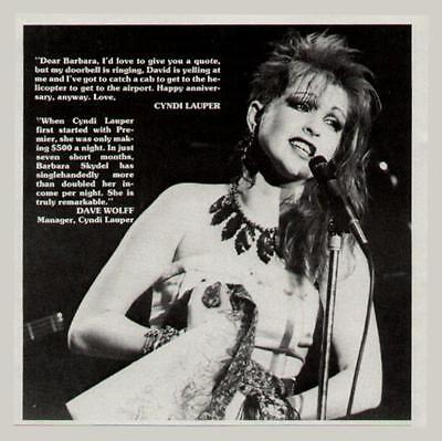 1984 CYNDI LAUPER IN A PREMIER TALENT PROMO AD