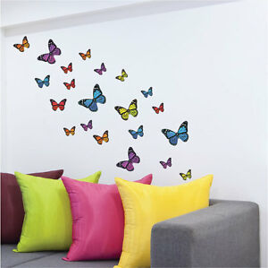 21-Colourful-Butterfly-Vinyl-Wall-Art-Stickers-5-Colours-Wall-Decals-Wall-Art
