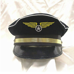 NAVY BLUE PILOT CAPTAIN HAT CAP AVIATOR AIRPLANE AIR FORCE AIRLINE COSTUME HAT