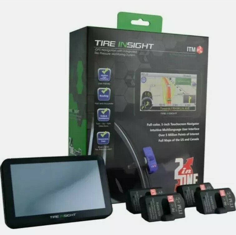 """Tire Insight Full Color 5"""" GPS Navigation System Touch Screen with TPMS Sensors"""