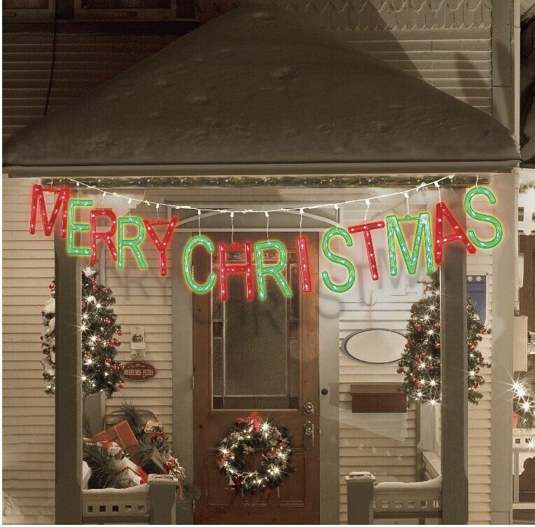 LED Merry Christmas Banner Lights-red/green Indoor/outdoor