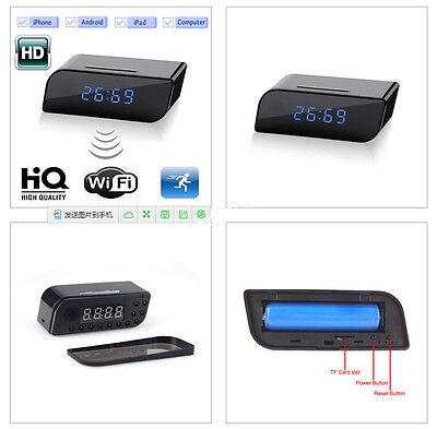 HD Wireless Wifi IP Spy Hidden Camera Motion Detection Alarm Clock IR DV Cam