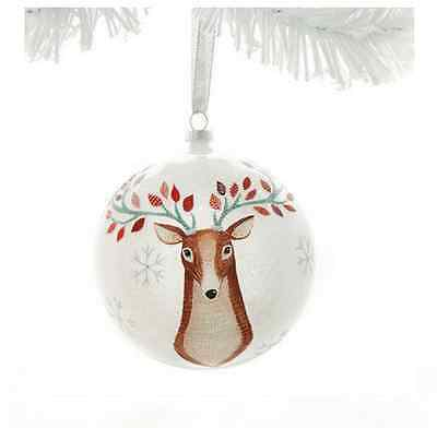 Woodland Deer Glass Ball Ornament Christmas Demdaco