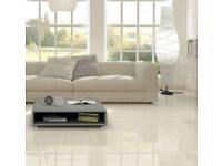Off white/light cream porcelain gloss wall and floor tiles (Rectfied) 70% off