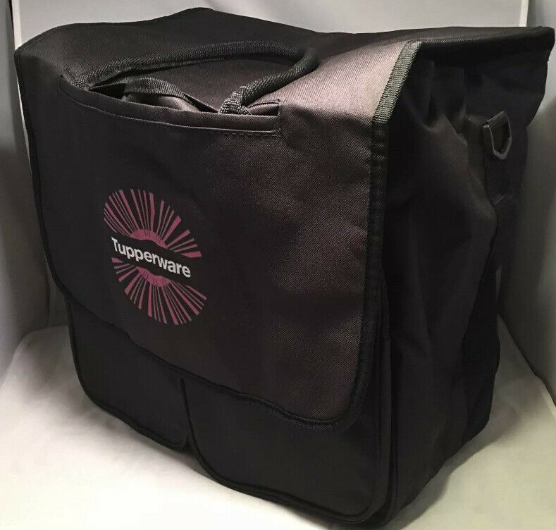 TUPPERWARE BLACK LOGO BAG PINK WHITE EMBROIDERY LARGE SPACIOUS NEW GOOD QUALITY