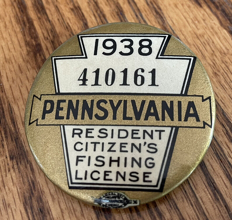 VINTAGE 1938 PENNSYLVANIA FISHING LICENSE BUTTON WITH MATCHING PAPER LICENSE