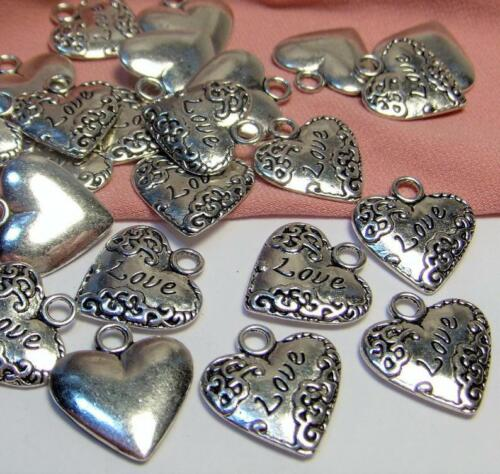 LOT OF 15 Silver Heart Charms-Engraved with Word Love-$30 ORDERS SHIP FOR FREE
