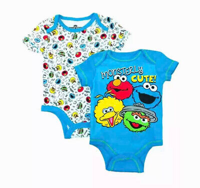 Sesame Street Infant Boys 2pc Blue Elmo Bodysuit Set Cookie Monster Outfit 12 mo](Cookie Monster Outfit Baby)