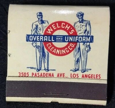 Full c1940 WELCH'S CLEANING CO. MATCHBOOK Los Angeles California vtg UNIFORM AD