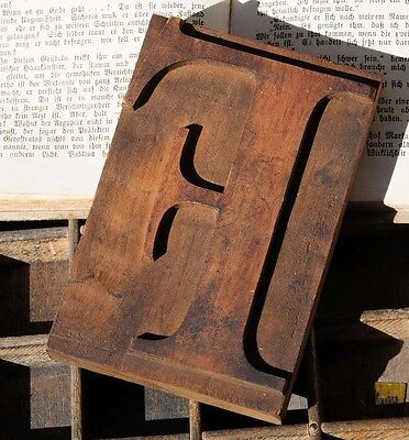 Letter F Wood Type Rare Decorative Letterpress Printing Block Vintage Antique