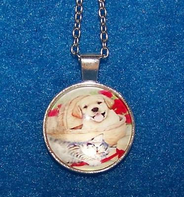 DOG PUPPY KITTY cat  pendant Sterling Silver necklace FREE special $10 GIFT 4U