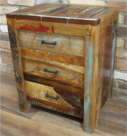 New Retro Vintage solid reclaimed wood bedside cabinet unit shabby chic bedroom