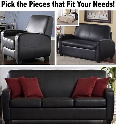 Black Leather Home Theater Recliner Chair Sleeper Loveseat Recliners Sofas (Contemporary Leather Sleeper Sofas)