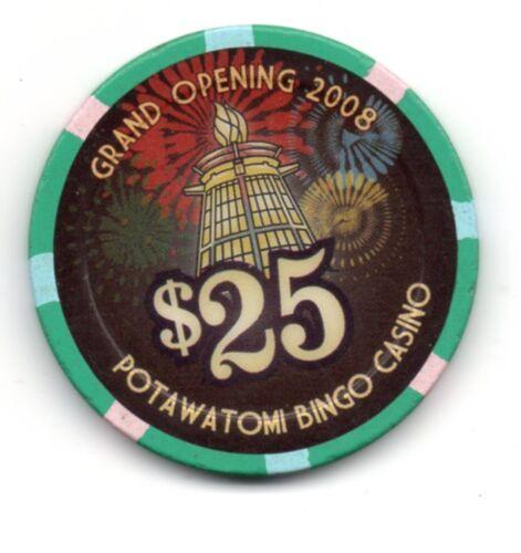 Potawatomi Casino Milwaukee WI $25.00 Grand Opening Chip 2008 Live Chip