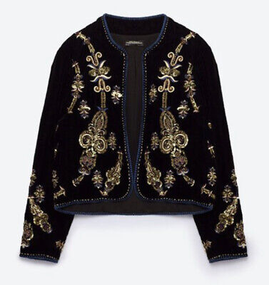 Zara Woman RARE Embrodiery Jacket NEW Velvet Sequin Small