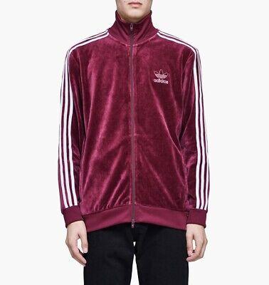 adidas Originals Velour Beckenbauer Track Top Maroon Size S Three Stripe White