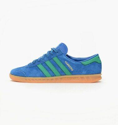 adidas Originals Hamburg Trainers - Lush Blue/Fresh Green - Size UK 4 RRP £75