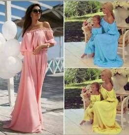 Mother and daughter bardot Style Dress