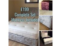 BRAND NEW CRUSHED VELVET KINGSIZE, DOUBLE & SINGLE BEDS COMPLETE WITH MATTRESS CAN DELIVER