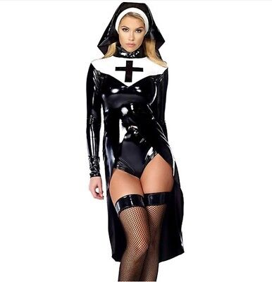 Nun Suit (Sexy Nun Halloween costume cosplay fashion latex leather suit outfit)