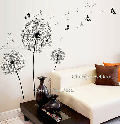 Home Decoration - Huge Flowers Dandelion Black Wall Art Decal Stickers Home Decoration Living Room