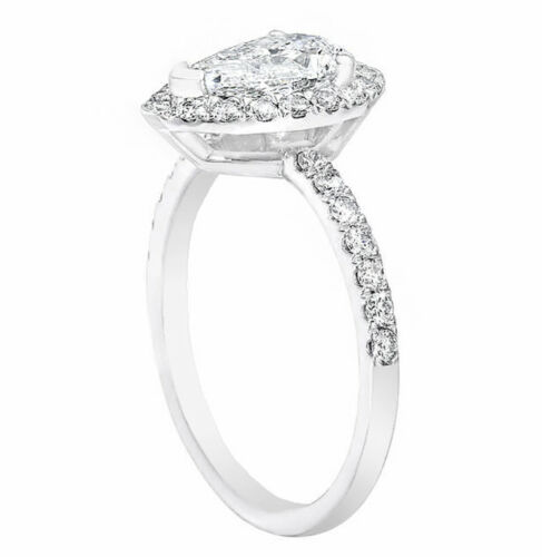 1.90 Carat Pear Shaped Halo Design Diamond Engagement Ring 18k White Gold GIA... 1