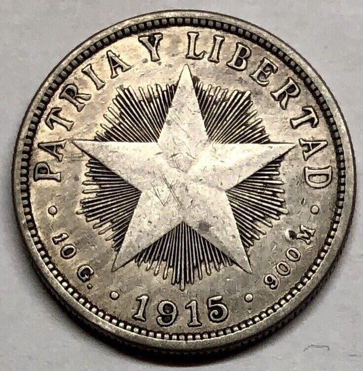 1915 40 CENTAVOS SILVER COIN * LOW MINTAGE
