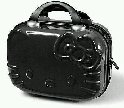 BNWT Black HELLO KITTY Cosmetic Make-up Train Case Hard Shell Zip Handle Luggage