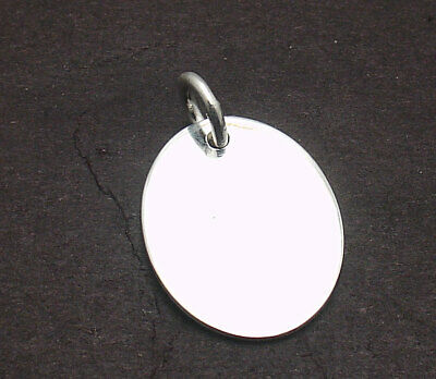 Engravable Oval Disc Dog Tag Charm Pendant Real Solid 925 Sterling Silver ()