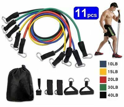 11Pcs Fitness Latex Resistance Bands Set Training Exercise Yoga Gym Elastic Band