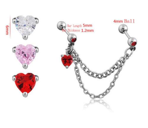 Chain Linked Helix Tragus Crystal Love Heart Cartilage Top Upper Ear Bar Earring