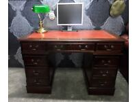 Stunning Chesterfield Leather Topped Captains Desk - Delivery Available