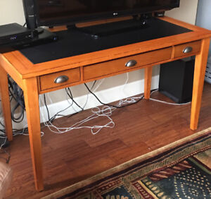 Wood desk with leather insert