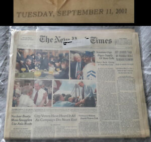 ULTRA RARE September 11th, 2001 Newspaper