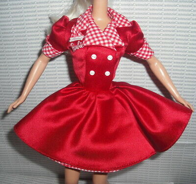 DRESS BARBIE MATTEL COCA COLA DOLL CAR HOP WAITRESS RED DRESS CLOTHING ACCESSORY